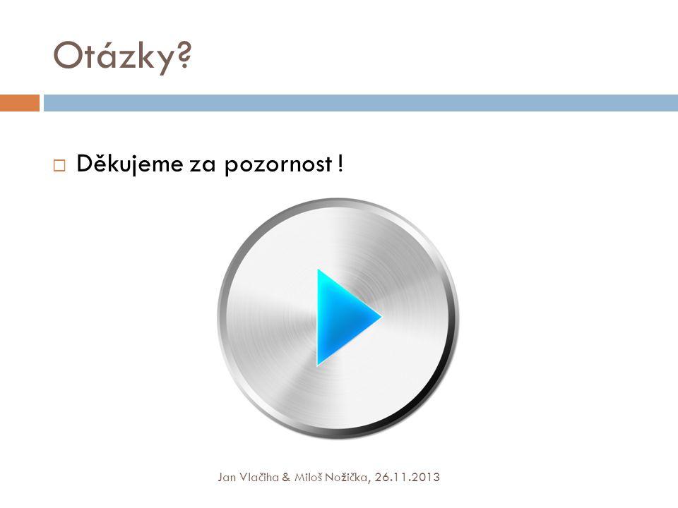 Otázky?  Děkujeme za pozornost ! Jan Vlačiha & Miloš Nožička, 26.11.2013