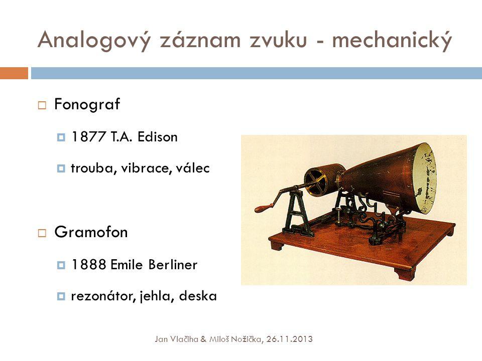 Analogový záznam zvuku - mechanický  Fonograf  1877 T.A.