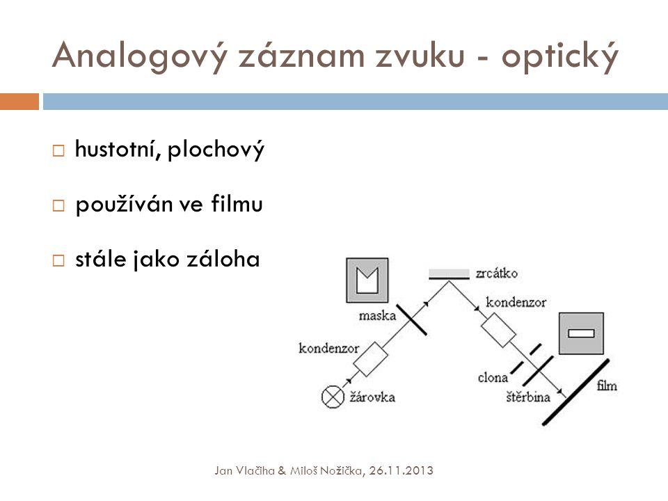 Analogový záznam zvuku - optický  hustotní, plochový  používán ve filmu  stále jako záloha Jan Vlačiha & Miloš Nožička, 26.11.2013