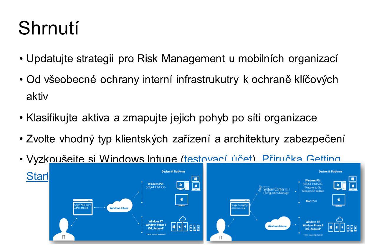 Shrnutí •Updatujte strategii pro Risk Management u mobilních organizací •Od všeobecné ochrany interní infrastrukutry k ochraně klíčových aktiv •Klasifikujte aktiva a zmapujte jejich pohyb po síti organizace •Zvolte vhodný typ klientských zařízení a architektury zabezpečení •Vyzkoušejte si Windows Intune (testovací účet), Příručka Getting Startedtestovací účetPříručka Getting Started