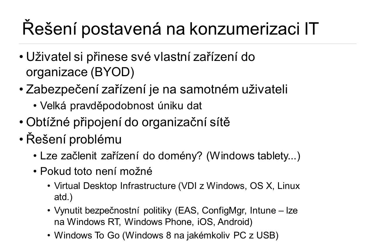 Řešení postavená na konzumerizaci IT •Uživatel si přinese své vlastní zařízení do organizace (BYOD) •Zabezpečení zařízení je na samotném uživateli •Ve