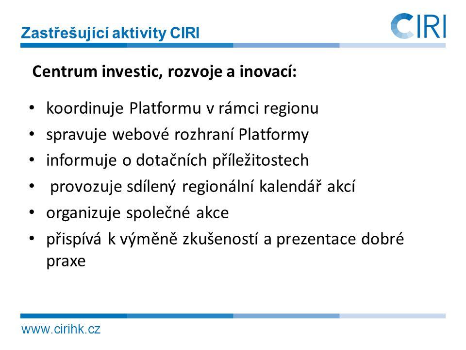 www.cirihk.cz Zastřešující aktivity CIRI • koordinuje Platformu v rámci regionu • spravuje webové rozhraní Platformy • informuje o dotačních příležito