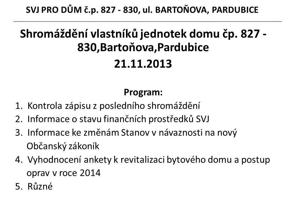 SVJ PRO DŮM č.p.827 - 830' ul. BARTOŇOVA' PARDUBICE Shromáždění vlastníků jednotek domu čp.