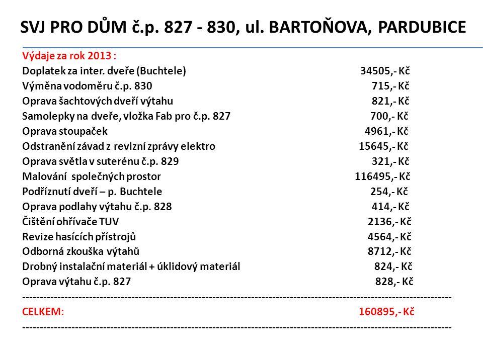 SVJ PRO DŮM č.p.827 - 830' ul. BARTOŇOVA' PARDUBICE Výdaje za rok 2013 : Doplatek za inter.
