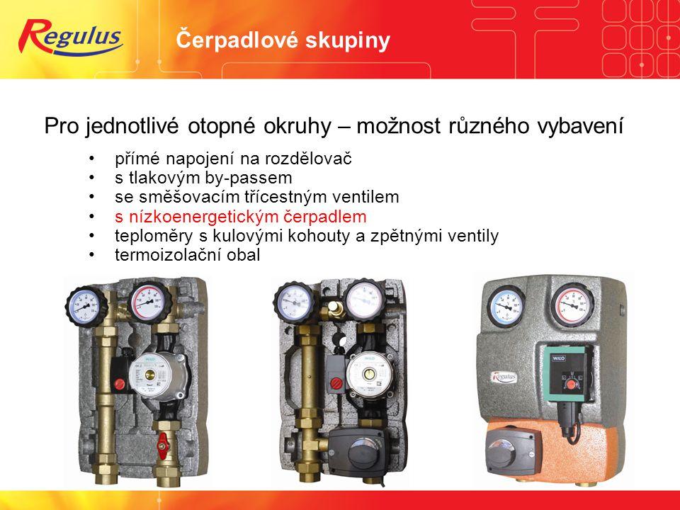 Čerpadlové skupiny Pro jednotlivé otopné okruhy – možnost různého vybavení • přímé napojení na rozdělovač • s tlakovým by-passem • se směšovacím tříce
