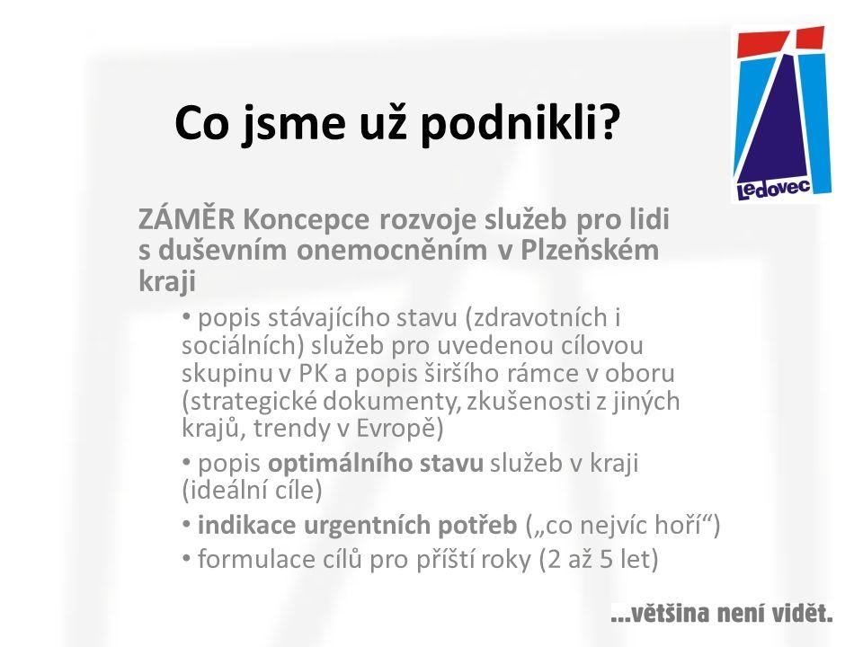 VÝSTUP Analytický a programový materiál k tématu podpory osob s duševním onemocněním v Plzeňském kraji Pracovní skupina navrhla rozšíření podpory osob s duševním onemocněním v kraji ve čtyřech oblastech: 1.