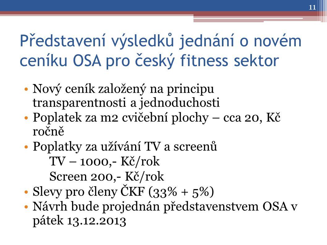 Představení výsledků jednání o novém ceníku OSA pro český fitness sektor •Nový ceník založený na principu transparentnosti a jednoduchosti •Poplatek za m2 cvičební plochy – cca 20, Kč ročně •Poplatky za užívání TV a screenů TV – 1000,- Kč/rok Screen 200,- Kč/rok •Slevy pro členy ČKF (33% + 5%) •Návrh bude projednán představenstvem OSA v pátek 13.12.2013 11