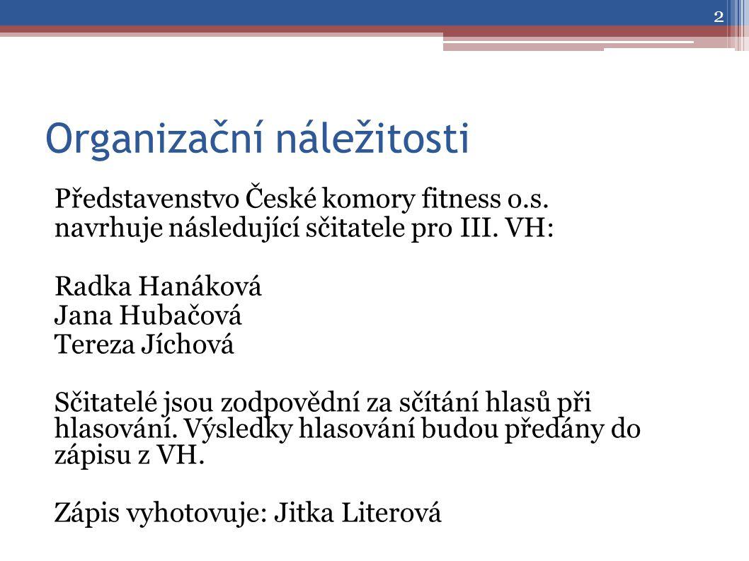 Organizační náležitosti Představenstvo České komory fitness o.s.