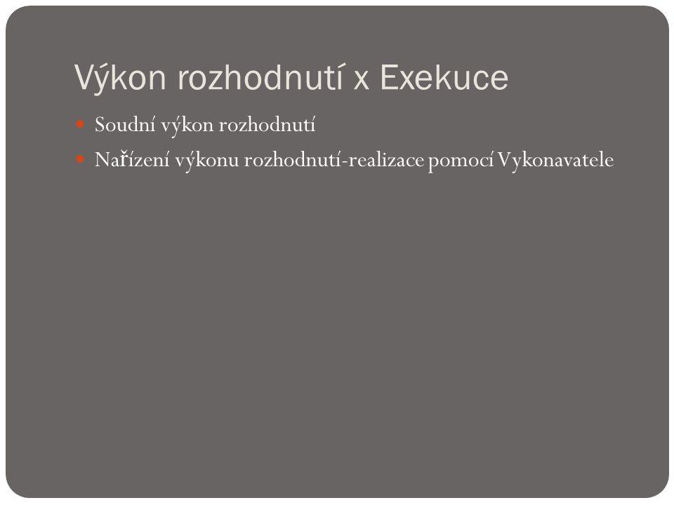 Výkon rozhodnutí x Exekuce  Soudní výkon rozhodnutí  Na ř ízení výkonu rozhodnutí-realizace pomocí Vykonavatele