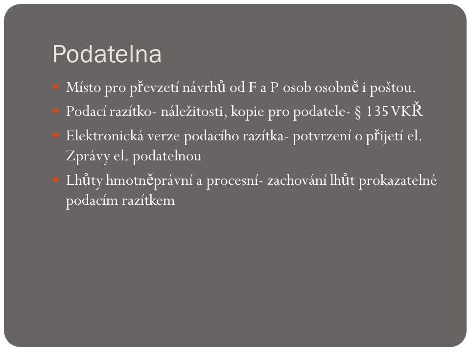 Podatelna  Místo pro p ř evzetí návrh ů od F a P osob osobn ě i poštou.
