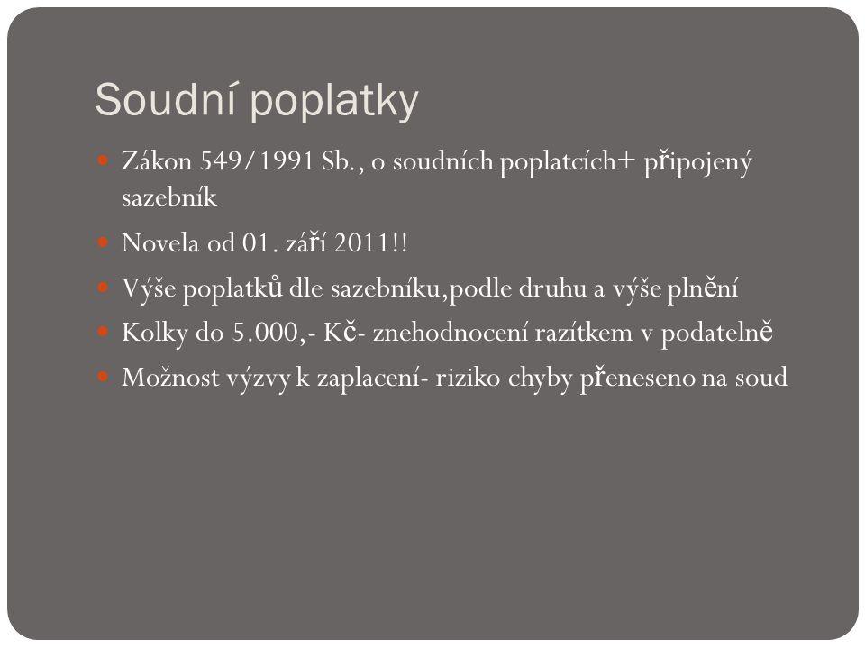 Soudní poplatky  Zákon 549/1991 Sb., o soudních poplatcích+ p ř ipojený sazebník  Novela od 01.