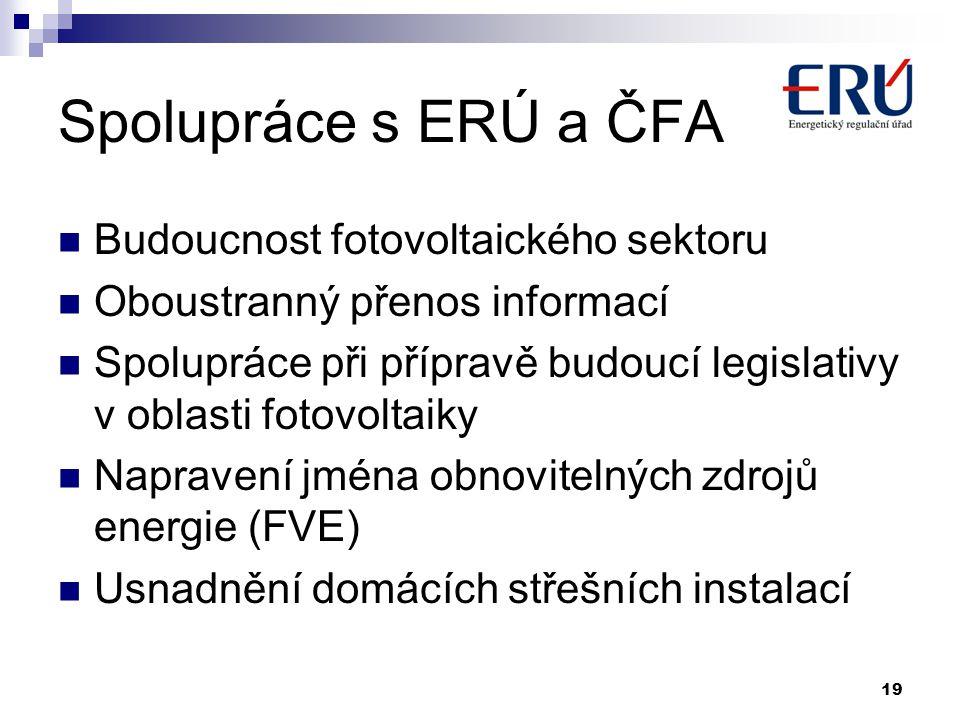 Spolupráce s ERÚ a ČFA  Budoucnost fotovoltaického sektoru  Oboustranný přenos informací  Spolupráce při přípravě budoucí legislativy v oblasti fotovoltaiky  Napravení jména obnovitelných zdrojů energie (FVE)  Usnadnění domácích střešních instalací 19