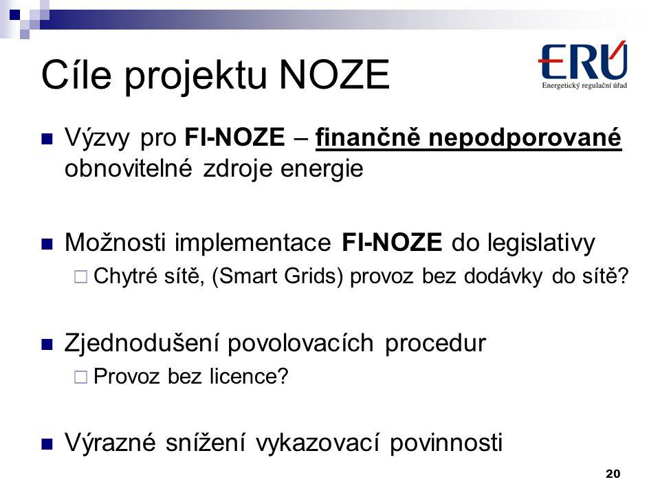 Cíle projektu NOZE  Výzvy pro FI-NOZE – finančně nepodporované obnovitelné zdroje energie  Možnosti implementace FI-NOZE do legislativy  Chytré sítě, (Smart Grids) provoz bez dodávky do sítě.