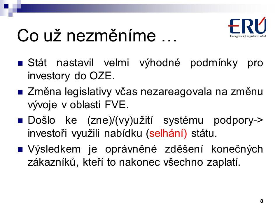 Co už nezměníme …  Stát nastavil velmi výhodné podmínky pro investory do OZE.