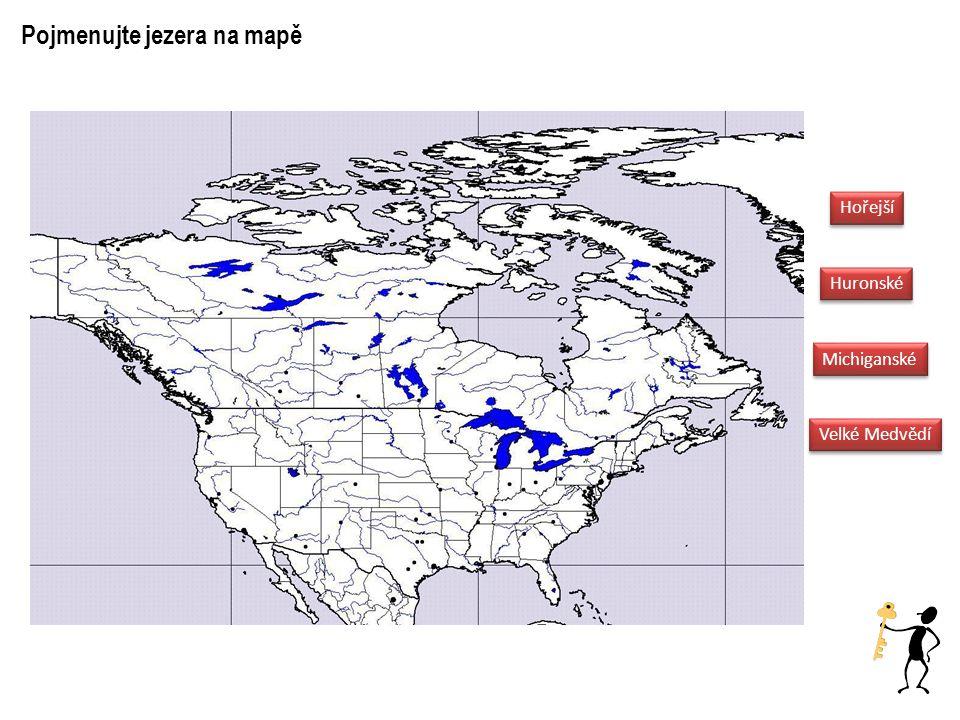 Hořejší Huronské Michiganské Velké Medvědí Pojmenujte jezera na mapě