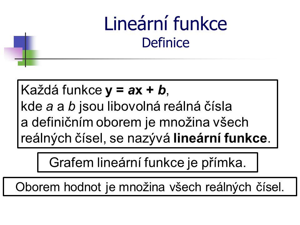 Lineární funkce Definice Každá funkce y = ax + b, kde a a b jsou libovolná reálná čísla a definičním oborem je množina všech reálných čísel, se nazývá