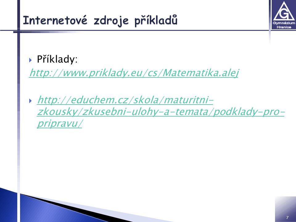 8 Knihy: 1.Janeček, František. Sbírka úloh z matematiky pro střední školy.