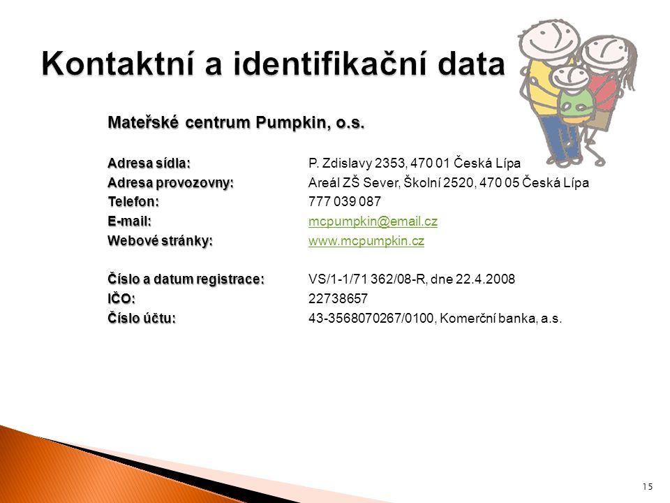 Mateřské centrum Pumpkin, o.s. Adresa sídla: Adresa sídla:P. Zdislavy 2353, 470 01 Česká Lípa Adresa provozovny: Adresa provozovny:Areál ZŠ Sever, Ško