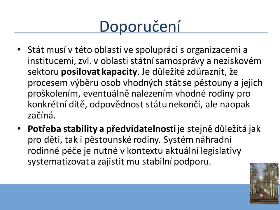 Doporučení • Stát musí v této oblasti ve spolupráci s organizacemi a institucemi, zvl.