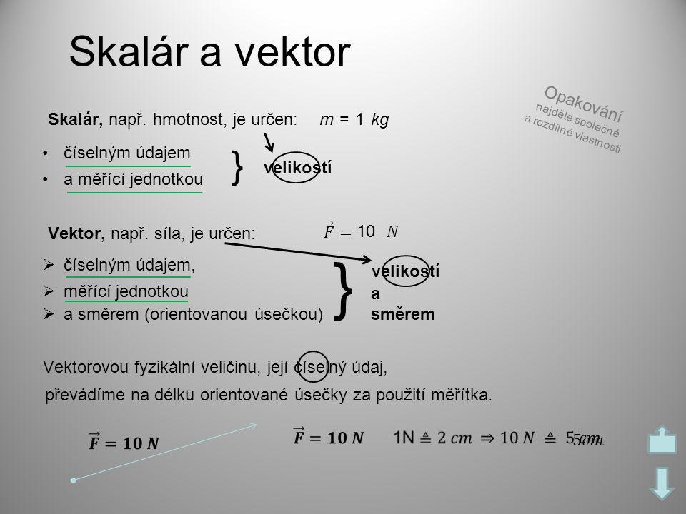 Skalár a vektor Skalár, např. hmotnost, je určen: •číselným údajem •a měřící jednotkou 1m =kg } velikostí Vektor, např. síla, je určen:  číselným úda
