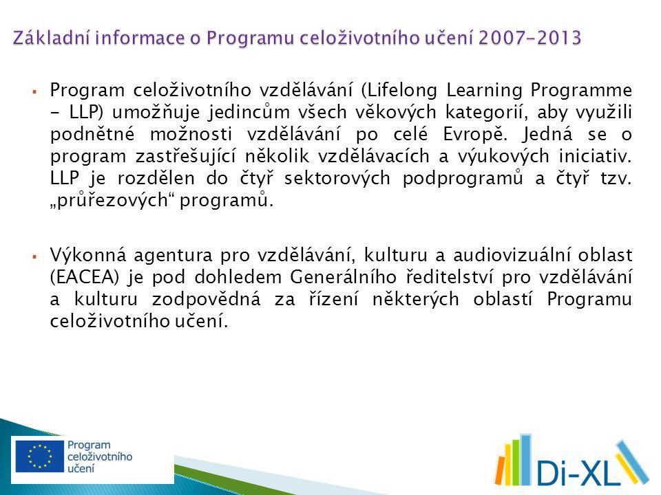 Sektorové podprogramy se zaměřují na různá stádia vzdělávání a odborné přípravy:  Comenius pro školy  Erasmus pro vyšší vzdělávání  Leonardo da Vinci pro odborné vzdělávání a přípravu  Grundtvig pro vzdělávání dospělých