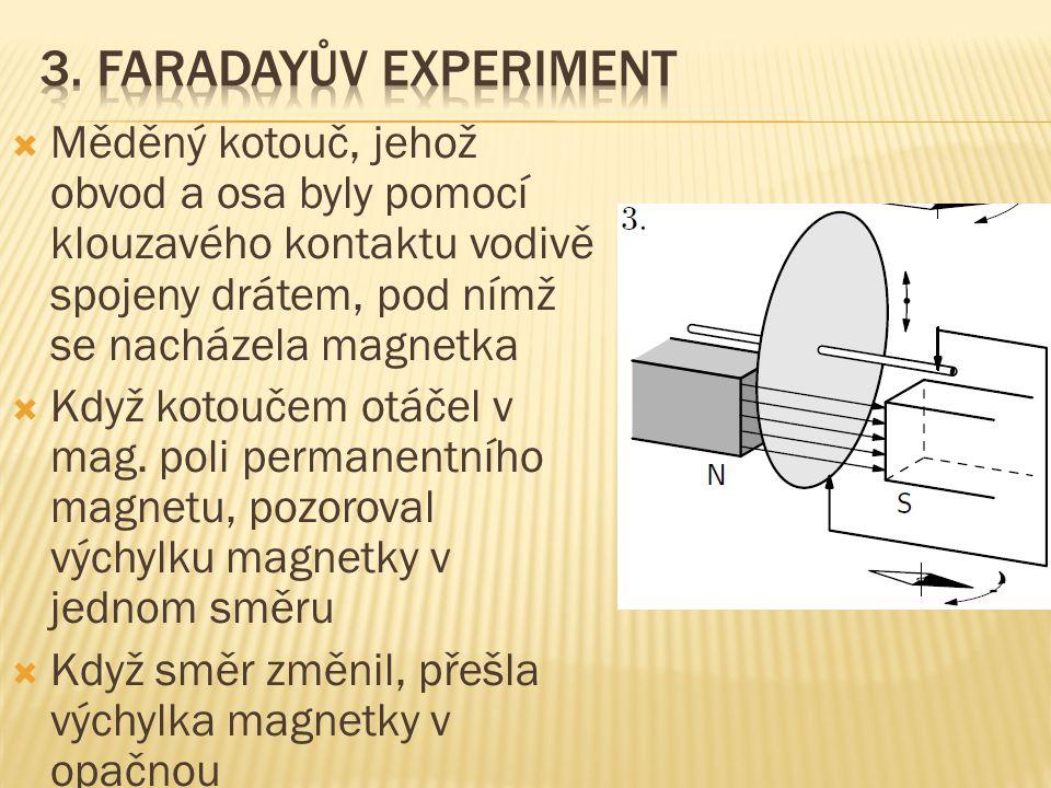  Měděný kotouč, jehož obvod a osa byly pomocí klouzavého kontaktu vodivě spojeny drátem, pod nímž se nacházela magnetka  Když kotoučem otáčel v mag.