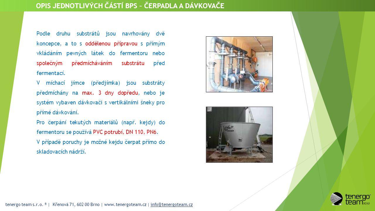 tenergo team s.r.o. ® | Křenová 71, 602 00 Brno | www.tenergoteam.cz | info@tenergoteam.cz OPIS JEDNOTLIVÝCH ČÁSTÍ BPS – ČERPADLA A DÁVKOVAČE Podle dr