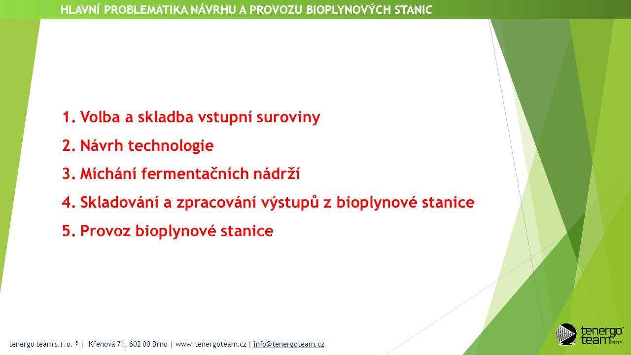 tenergo team s.r.o. ® | Křenová 71, 602 00 Brno | www.tenergoteam.cz | info@tenergoteam.cz HLAVNÍ PROBLEMATIKA NÁVRHU A PROVOZU BIOPLYNOVÝCH STANIC 1.