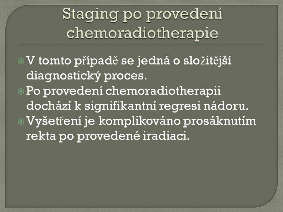 V tomto p ř ípad ě se jedná o slo ž it ě jší diagnostický proces.  Po provedení chemoradiotherapii dochází k signifikantní regresi nádoru.  Vyšet