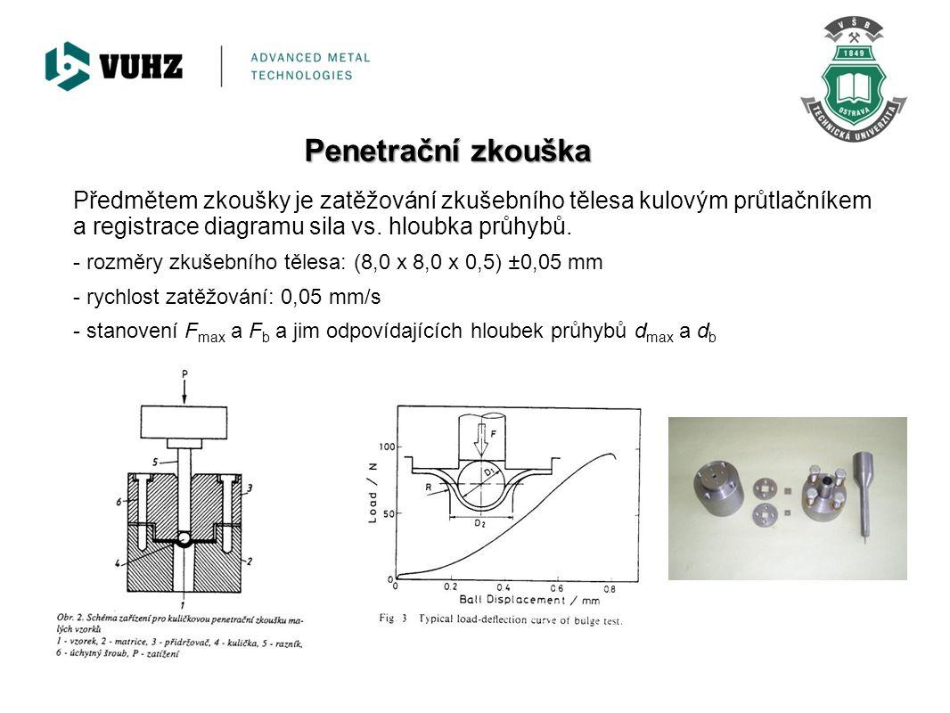 Penetrační zkouška Předmětem zkoušky je zatěžování zkušebního tělesa kulovým průtlačníkem a registrace diagramu sila vs. hloubka průhybů. - rozměry zk