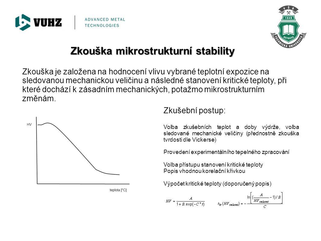Zkouška mikrostrukturní stability Zkouška je založena na hodnocení vlivu vybrané teplotní expozice na sledovanou mechanickou veličinu a následné stano