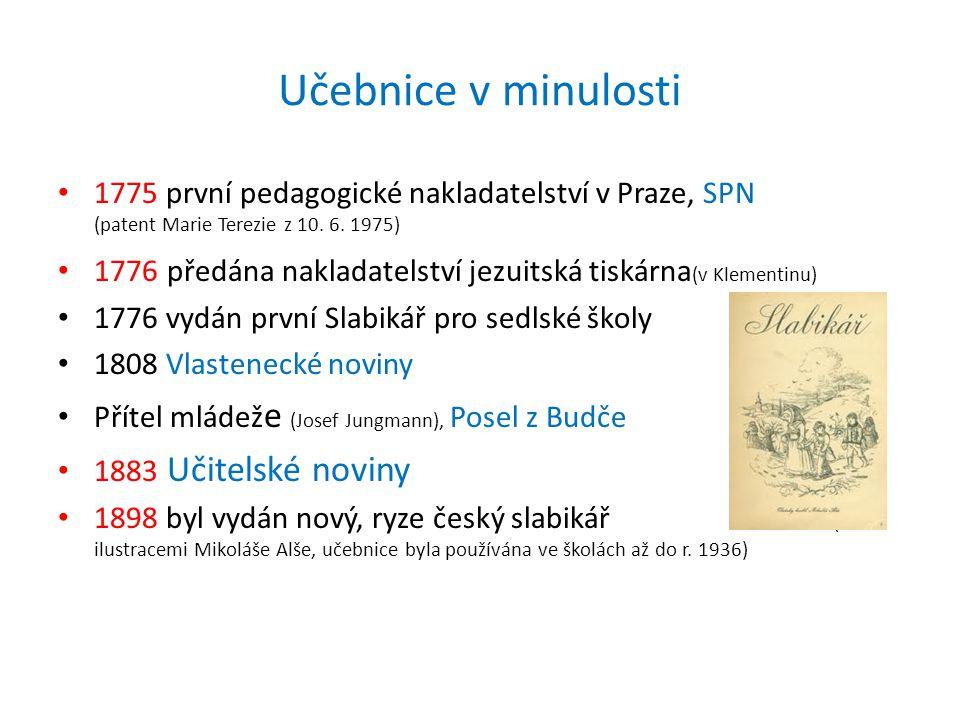 • 1775 první pedagogické nakladatelství v Praze, SPN (patent Marie Terezie z 10. 6. 1975) • 1776 předána nakladatelství jezuitská tiskárna (v Klementi