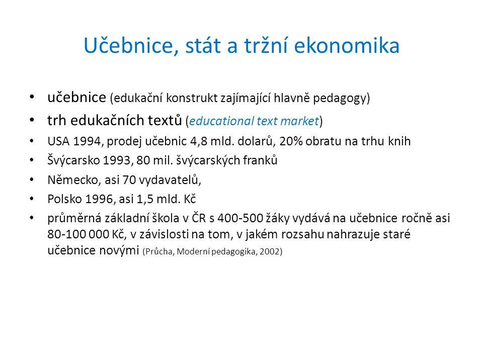 Učebnice, stát a tržní ekonomika • učebnice (edukační konstrukt zajímající hlavně pedagogy) • trh edukačních textů (educational text market) • USA 1994, prodej učebnic 4,8 mld.