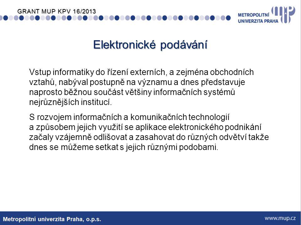 GRANT MUP KPV 16/2013 Výhody elektronického podávání  elektronické podávání přináší do procesů odborných agend patentových úřadů následující výhody: −zrychlení komunikace s klienty −možnost komunikace s klienty i mimo pracovní dobu −snížení chybovosti dat