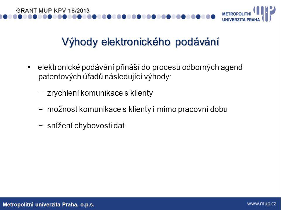 GRANT MUP KPV 16/2013 Výhody elektronického podávání  elektronické podávání přináší do procesů odborných agend patentových úřadů následující výhody: