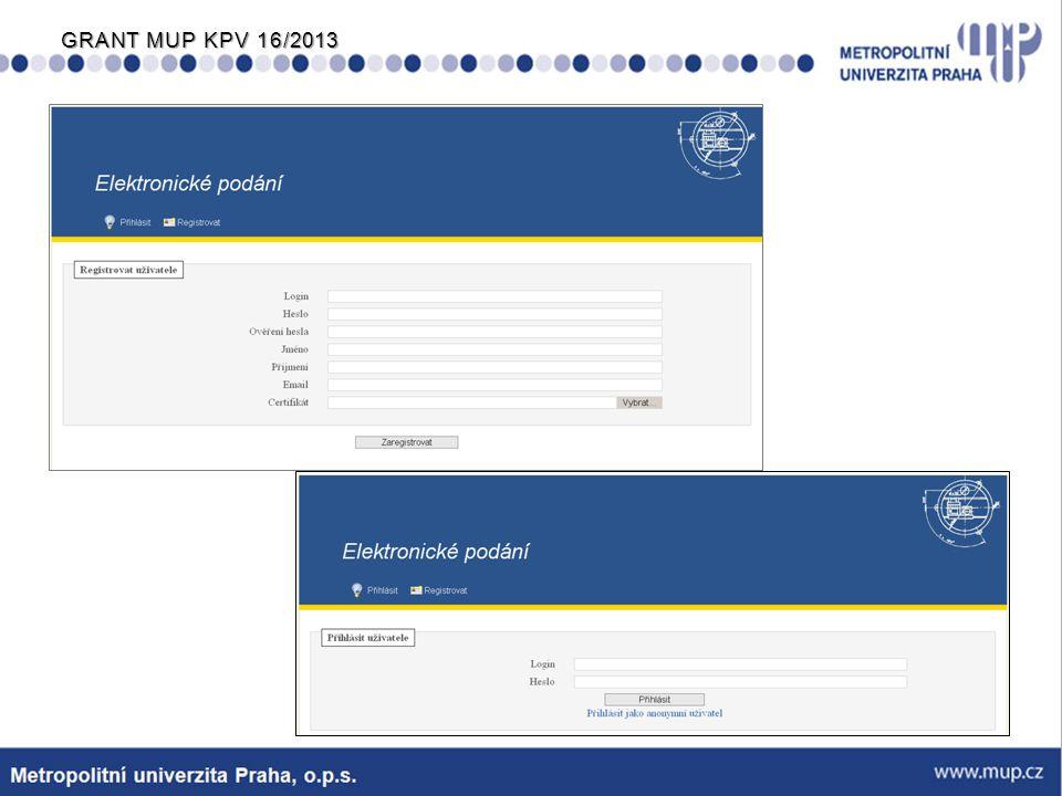 Po vstupu do aplikace se zobrazí přihlášky a žádosti podané přihlášeným uživatelem, který zde může: −stahovat formuláře −změnit údaje uvedené při registraci −provádět roční aktualizace certifikátu −sledovat průběh podání u již realizovaných podání