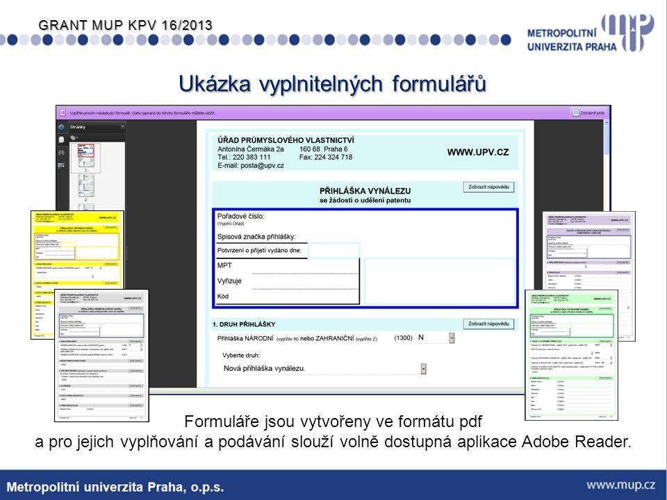 GRANT MUP KPV 16/2013  Při využití PCT Easy-módu nebo při podání formuláře žádosti v elektronické podobě v netextovém formátu (PDF nebo TIFF) činí sleva - 100 CHF.