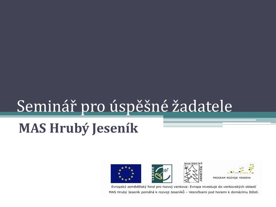 Seminář pro úspěšné žadatele MAS Hrubý Jeseník