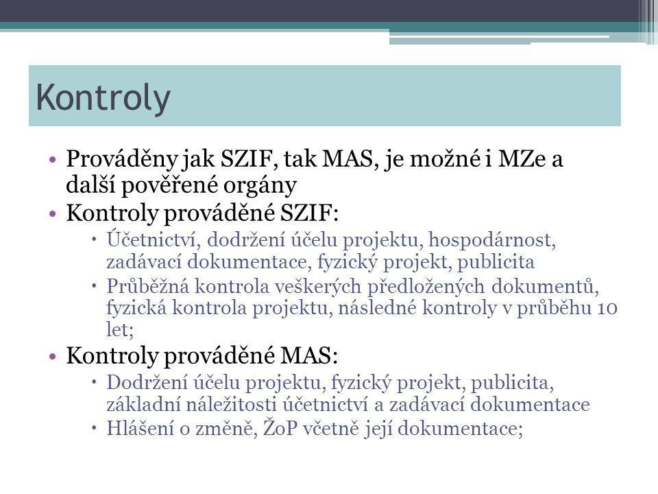 Kontroly •Prováděny jak SZIF, tak MAS, je možné i MZe a další pověřené orgány •Kontroly prováděné SZIF:  Účetnictví, dodržení účelu projektu, hospodárnost, zadávací dokumentace, fyzický projekt, publicita  Průběžná kontrola veškerých předložených dokumentů, fyzická kontrola projektu, následné kontroly v průběhu 10 let; •Kontroly prováděné MAS:  Dodržení účelu projektu, fyzický projekt, publicita, základní náležitosti účetnictví a zadávací dokumentace  Hlášení o změně, ŽoP včetně její dokumentace;