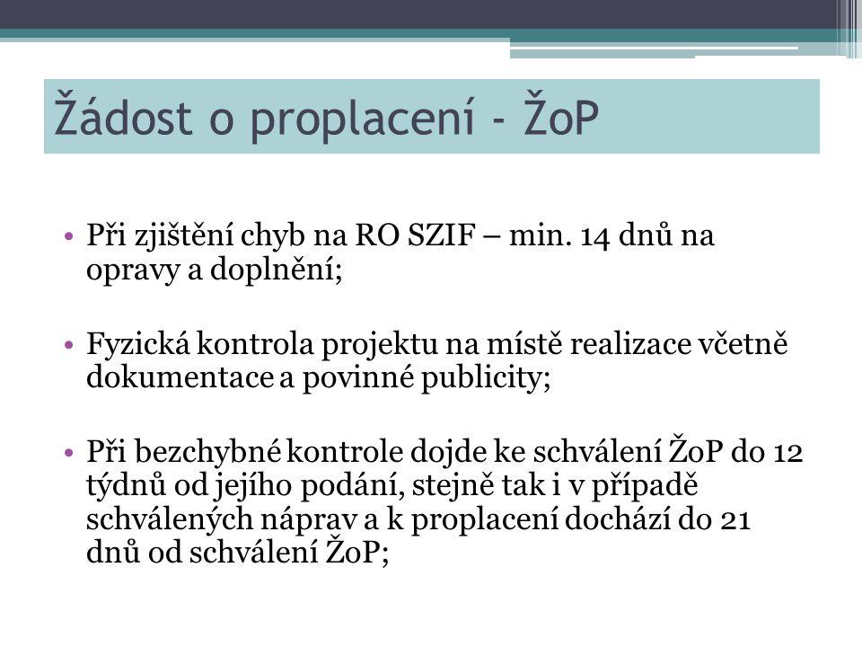 Žádost o proplacení - ŽoP •Při zjištění chyb na RO SZIF – min.