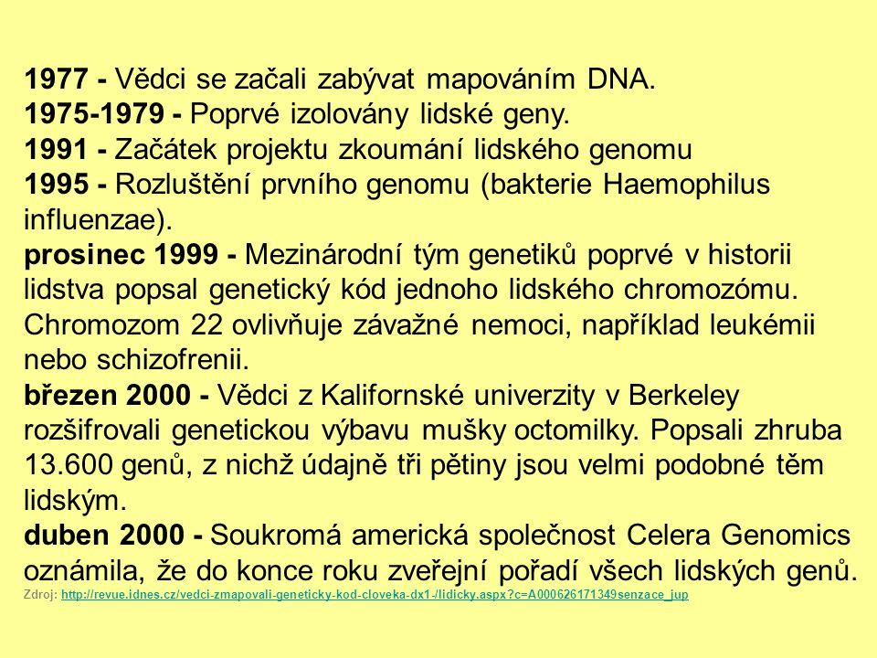 1977 - Vědci se začali zabývat mapováním DNA.1975-1979 - Poprvé izolovány lidské geny.