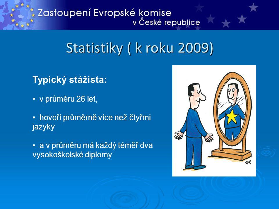 Statistiky ( k roku 2009) Typický stážista: • v průměru 26 let, • hovoří průměrně více než čtyřmi jazyky • a v průměru má každý téměř dva vysokoškolsk