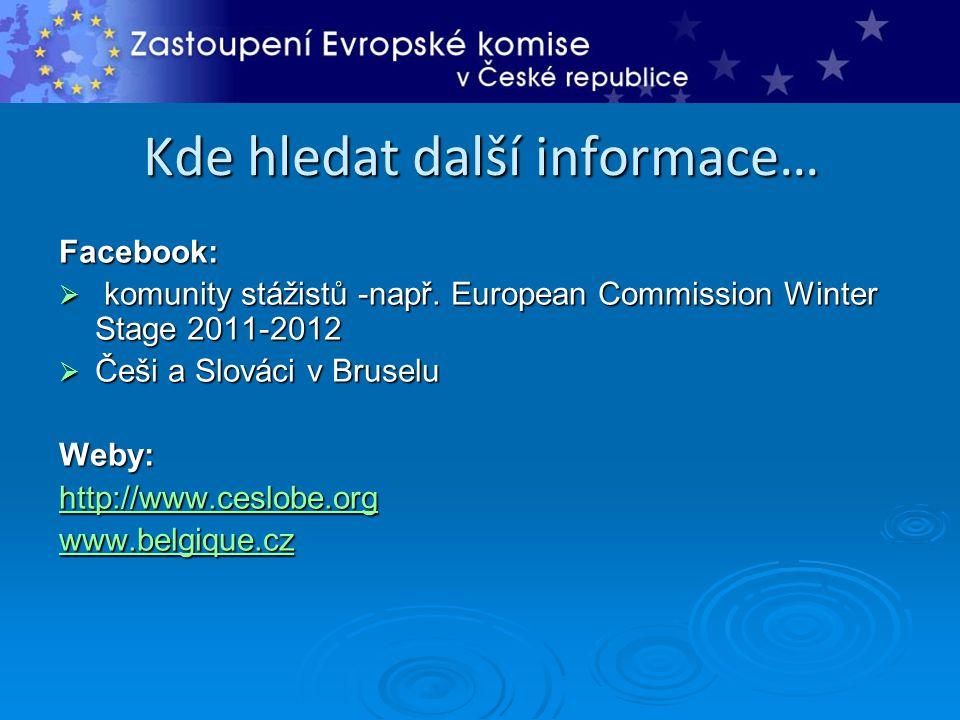 Kde hledat další informace… Facebook:  komunity stážistů -např. European Commission Winter Stage 2011-2012  Češi a Slováci v Bruselu Weby: http://ww