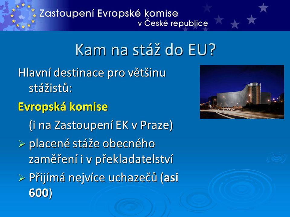Kam na stáž do EU? Hlavní destinace pro většinu stážistů: Evropská komise (i na Zastoupení EK v Praze)  placené stáže obecného zaměření i v překladat