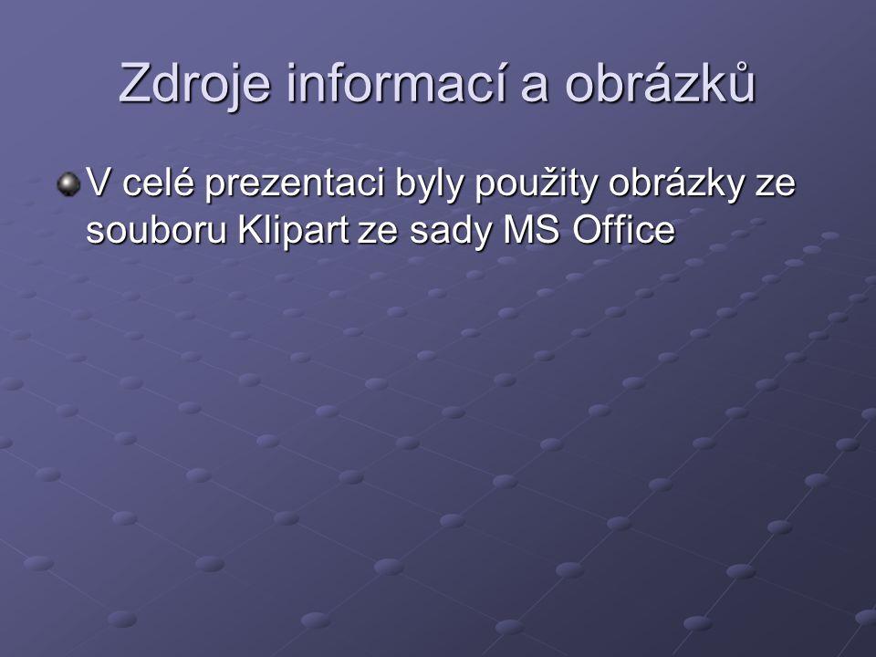 Zdroje informací a obrázků V celé prezentaci byly použity obrázky ze souboru Klipart ze sady MS Office