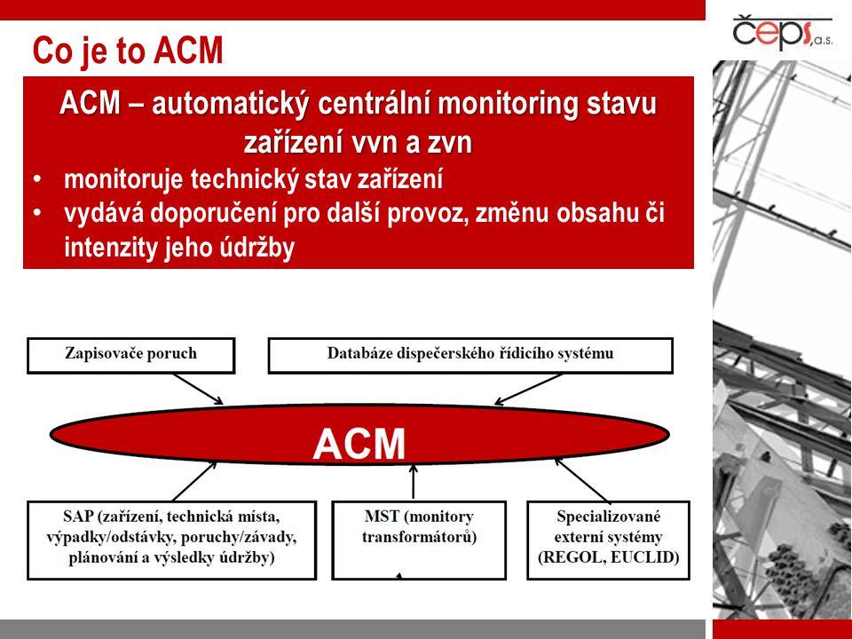 Co je to ACM – hlavní součásti SW eSADA = jednoduchý uživatelsky přátelský systém k prohlížení databáze zařízení centrálního infomačního systému SAP a výsledků monitorování = aktivní analytický a výpočtový systém pro kontrolu, vyhodnocení provozu a doporučení údržby SW AROPO (automatické rozpoznání poruch) aropo = automatické rozpoznání zhoršeného provozního stavu zařízení nebo jeho nadměrného nebo nestandardního zatížení