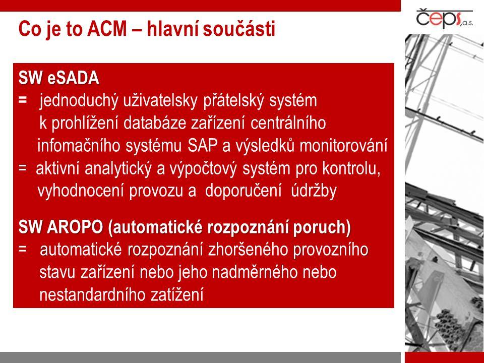 Architektura a zdroje dat  ŘS:  ŘS: U,I, P a Q, stavy (ZAP -VYP), čas, alarmy  Zapisovače poruch  Zapisovače poruch : detailní analogové křivky (průběh poruchového děje (obdoba osciloperturbografu)  SAP:  SAP: topologie a evidence zařízení v síti, záznamy poruch a závad, plánování a vyhodnocování údržby a diagnostiky  Systém pracuje s existujícími daty (DŘS, ochrany, zapisovače poruch…), není třeba pořizovat data,  Vysoká spolehlivost dat – existující data z jiných aplikací  Systém je jen SW, nepotřebuje další HW ani komunikační cesty  ACM eviduje a monitoruje VŠECHNA zařízení vvn a zvn Zdroje dat