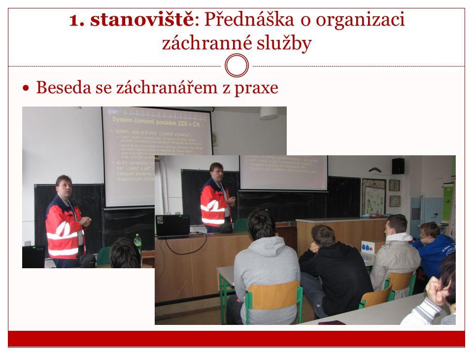 1. stanoviště: Přednáška o organizaci záchranné služby  Beseda se záchranářem z praxe