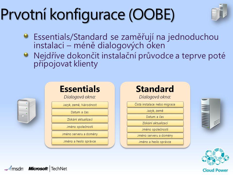 Prvotní konfigurace (OOBE) Essentials/Standard se zaměřují na jednoduchou instalaci – méně dialogových oken Nejdříve dokončit instalační průvodce a teprve poté připojovat klienty Essentials Dialogová okna: Jazyk, země, NárodnostDatum a časZískání aktualizacíJméno společnostiJméno serveru a doményJméno a heslo správce Standard Dialogová okna: Čistá instalace nebo migraceJazyk, zeměDatum a časZískání aktualizacíJméno společnostiJméno serveru a doményJméno a heslo správce