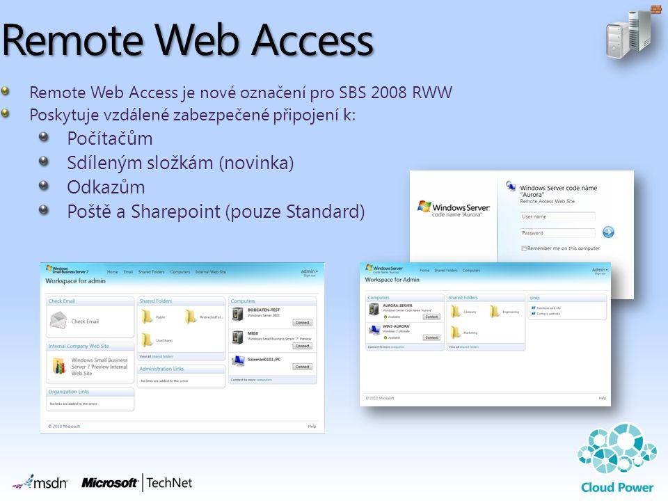 Remote Web Access Remote Web Access je nové označení pro SBS 2008 RWW Poskytuje vzdálené zabezpečené připojení k: Počítačům Sdíleným složkám (novinka) Odkazům Poště a Sharepoint (pouze Standard)
